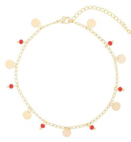 YG-02200 Goudkleurig enkelbandje met trendy rode details Funky Circles