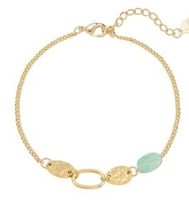 YG-02005 Armbandje goudkleurig trendy dubbele schakelarmband everlasting