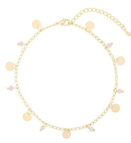 YG-02201 Goudkleurig enkelbandje met trendy grijs/roze details Funky Circles