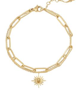 YG-02004 Armbandje goudkleurig trendy dubbele schakelarmband everlasting