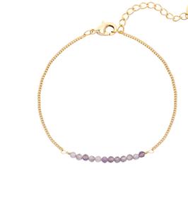 YG-02007 Goudkleurig trendy hand geregen armbandje met kleine gekleurde steentjes Fine Color