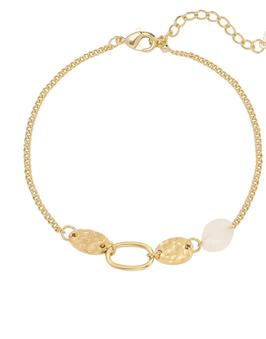 YG-02010 Goudkleurig armbandje met roze natuursteen Calla