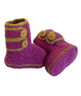 Baby-Boots aus feinster Baby Alpaka Wolle - orchidee