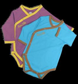 Geschenkset 2er Wickelbodys langarm - lila/blau