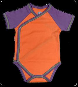 Wickelbody - kurzarm aus Pima Bio Baumwolle - orange
