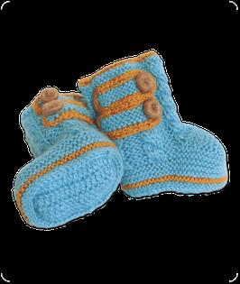 Baby-Boots aus feinster Baby Alpaka Wolle - blau
