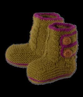 Baby-Boots aus feinster Baby Alpaka Wolle - grün