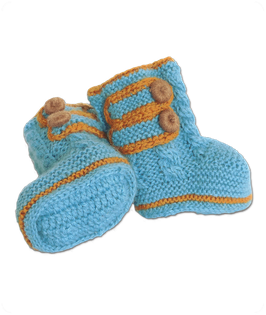 Baby Alpaka Boots - blau