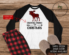 Buffalo Plaid Moose Family-Personalized Family Christmas Pajamas **PRE-ORDER PURCHASE**