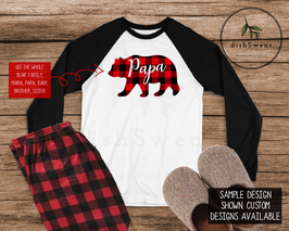 Buffalo Plaid Bear Family-Personalized Family Christmas Pajamas **PRE-ORDER PURCHASE**