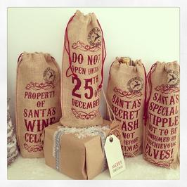Vintage Style Jute Christmas Bottle Bag