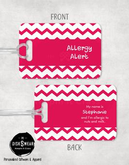 Allergy Alert (Pink) Backpack/Luggage Tag