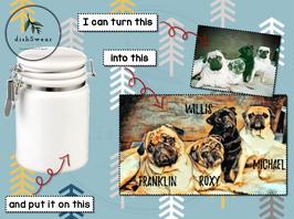 14oz. Ceramic Pet Treat Jar with Custom Picture