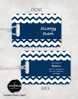 Allergy Alert (Blue) Backpack/Luggage Tag