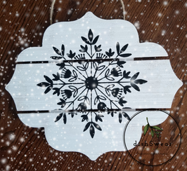 Handcrafted Farmhouse Scandinavian Snowflake Wood Sign