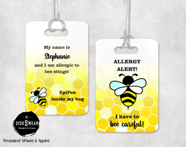 Allergy Alert Bee Sting Backpack/Luggage Tag