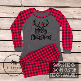 Merry Christmas Antlers-Personalized Family Christmas Pajamas **PRE-ORDER PURCHASE**