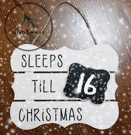 Handcrafted Farmhouse Sleeps Till Christmas Wood Sign