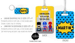 Superhero-Boy (BLUE) School ID Tag Collection