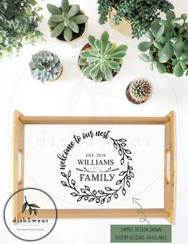 """Personalized Farmhouse Style Natural Wood Serving Tray (small) 9""""x14"""""""