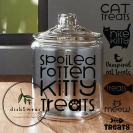 1/2 gallon (64oz.) Glass Pet Treat Jar (Cat Designs)