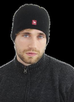 Doppelt gestrickte Mütze, grau/schwarz