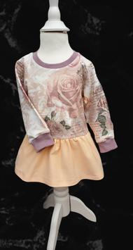 Langarmshirt/ Tunika Vintage Rose mit Schößchen/ Volant