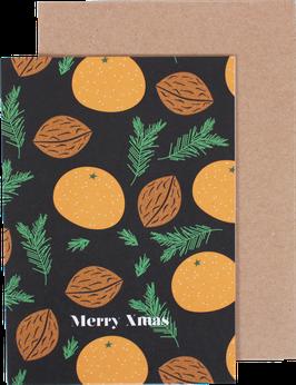 "Christmas Card ""Mandarins"", black - Merry Xmas"