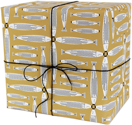 "Wrapping Paper ""Four dancing fishes"", yellow (3 sheets)"