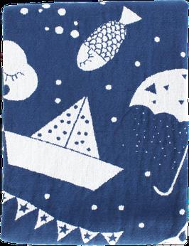 Linen/Cotton Blanket, blue (70x100 cm)