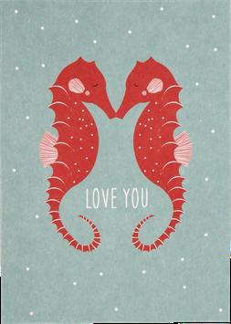 "Postcard Sea Horse ""Love you"""