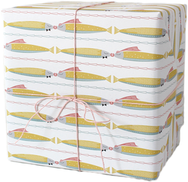 """Wrapping Paper """"Two kissing fishes"""" pastell (3 sheets)"""