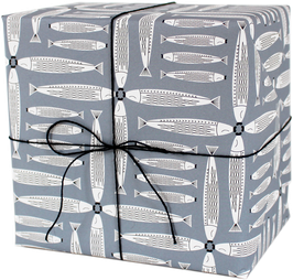 """Wrapping Paper """"Four dancing fishes"""", blue (3 sheets)"""