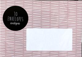 "Envelopes ""VVV"", rose (set of 10)"