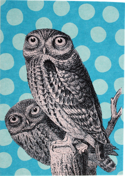 "Postcard ""Owl"" with Dots"