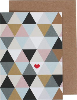 "Greeting Card ""Triangles with Heart"""