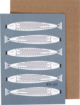 Greeting Card Fishes, blue - With Love