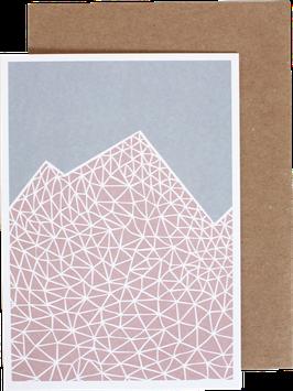 """Greeting Card """"Mountains"""", pink"""