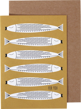 Greeting Card Fishes, yellow - For You
