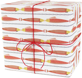 """Wrapping Paper """"Two kissing fishes"""", red  (3 sheets)"""
