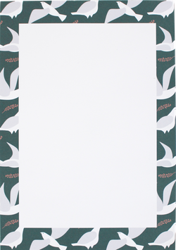 "Writing Pad ""Pigeons"", sea green/white DIN A5 (50 sheets)"
