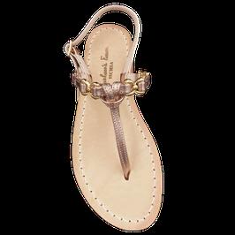 """Sandali artigianali tipici. Modello """"Jackie 0""""  colore oro-rosa."""