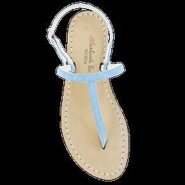 """Sandali artigianali semplici """"Ermes"""" colore turchese."""