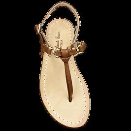 """Sandali artigianali tipici. Modello """"Jackie 0""""  colore cuoio."""