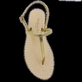 """Sandali artigianali semplici """"Ermes"""" colore oro giallo."""