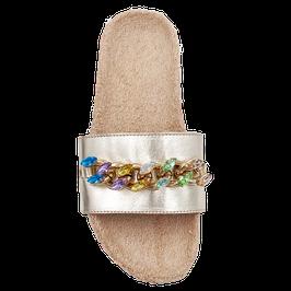 """Sandali a fascia modello """"Viola"""" colore oro -platino"""