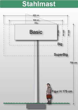 H 7.50 m Werbemast mit einer Werbeebene, Pflug 45°