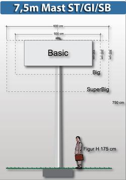 H 7.50 m Werbemast mit einer Werbeebene Rechteck