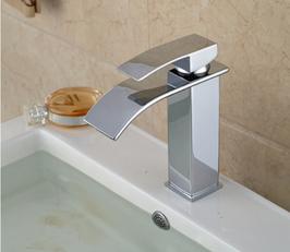 Bad Armatur Waschbecken Einhebelmischer Wasserhahn Waschtisch Wasserfall Chrom BIG
