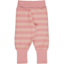 Maxomorra Pants Rib Stripe Dusty Rose